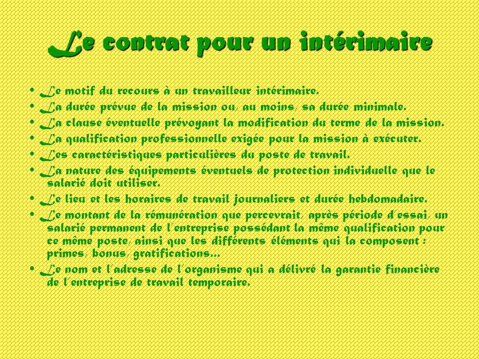 Le contrat pour un intérimaire Le motif du recours à un travailleur intérimaire. La durée prévue de la mission ou, au moins, sa durée minimale. La cla
