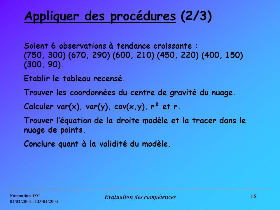 Formation IFC 04/02/2004 et 23/04/2004 Evaluation des compétences 15 Appliquer des procédures (2/3) Soient 6 observations à tendance croissante : (750, 300) (670, 290) (600, 210) (450, 220) (400, 150) (300, 90).