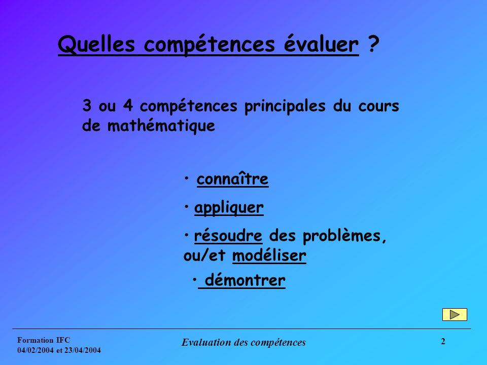 Formation IFC 04/02/2004 et 23/04/2004 Evaluation des compétences 2 Quelles compétences évaluer .