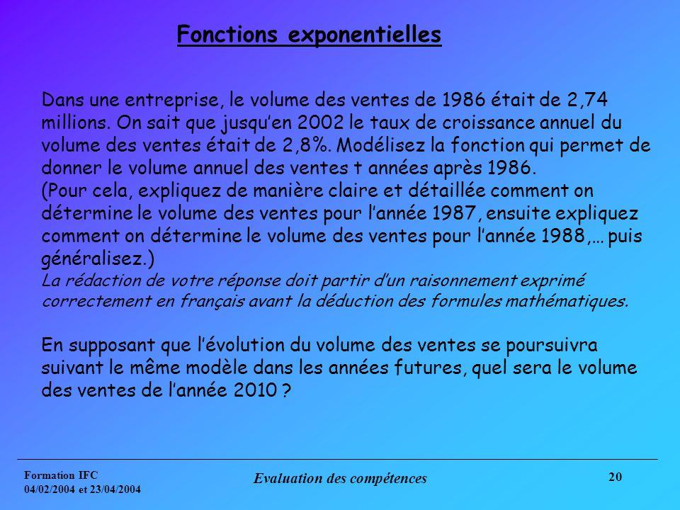 Formation IFC 04/02/2004 et 23/04/2004 Evaluation des compétences 20 Dans une entreprise, le volume des ventes de 1986 était de 2,74 millions.