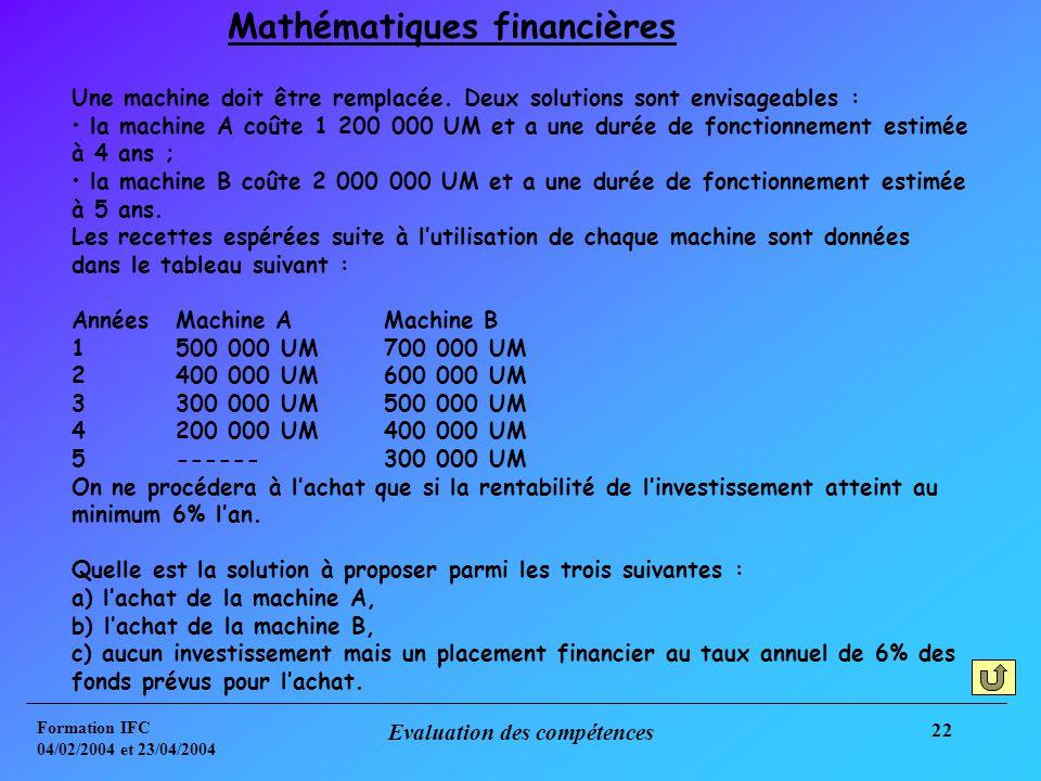 Formation IFC 04/02/2004 et 23/04/2004 Evaluation des compétences 22 Une machine doit être remplacée.