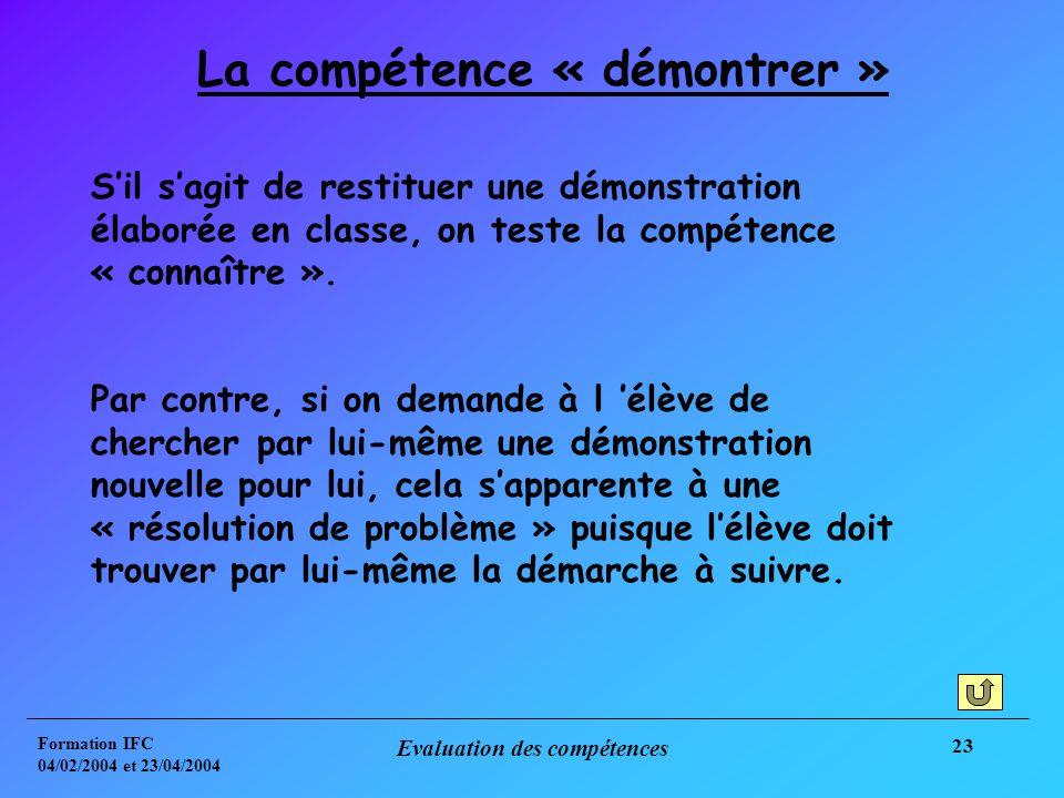 Formation IFC 04/02/2004 et 23/04/2004 Evaluation des compétences 23 La compétence « démontrer » Sil sagit de restituer une démonstration élaborée en classe, on teste la compétence « connaître ».
