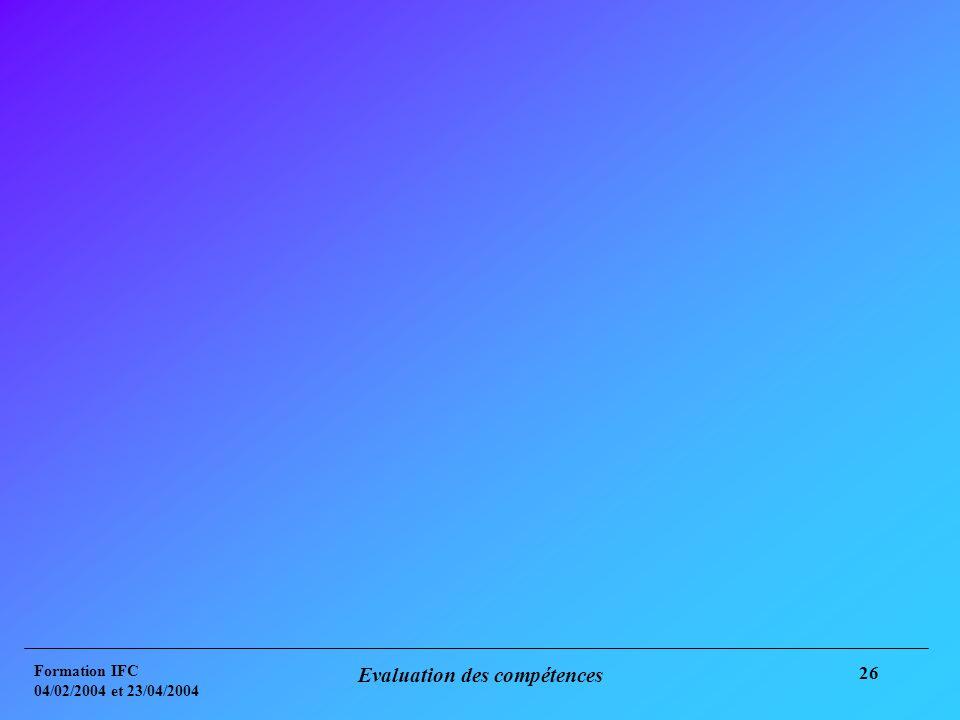 Formation IFC 04/02/2004 et 23/04/2004 Evaluation des compétences 26