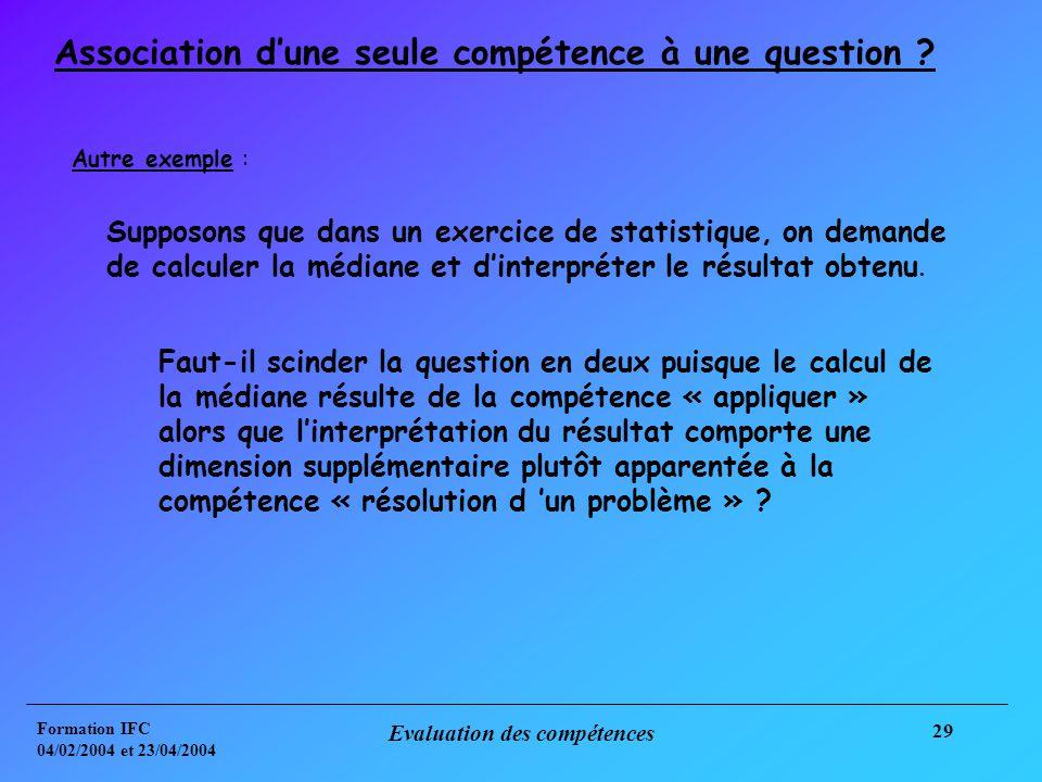 Formation IFC 04/02/2004 et 23/04/2004 Evaluation des compétences 29 Association dune seule compétence à une question .