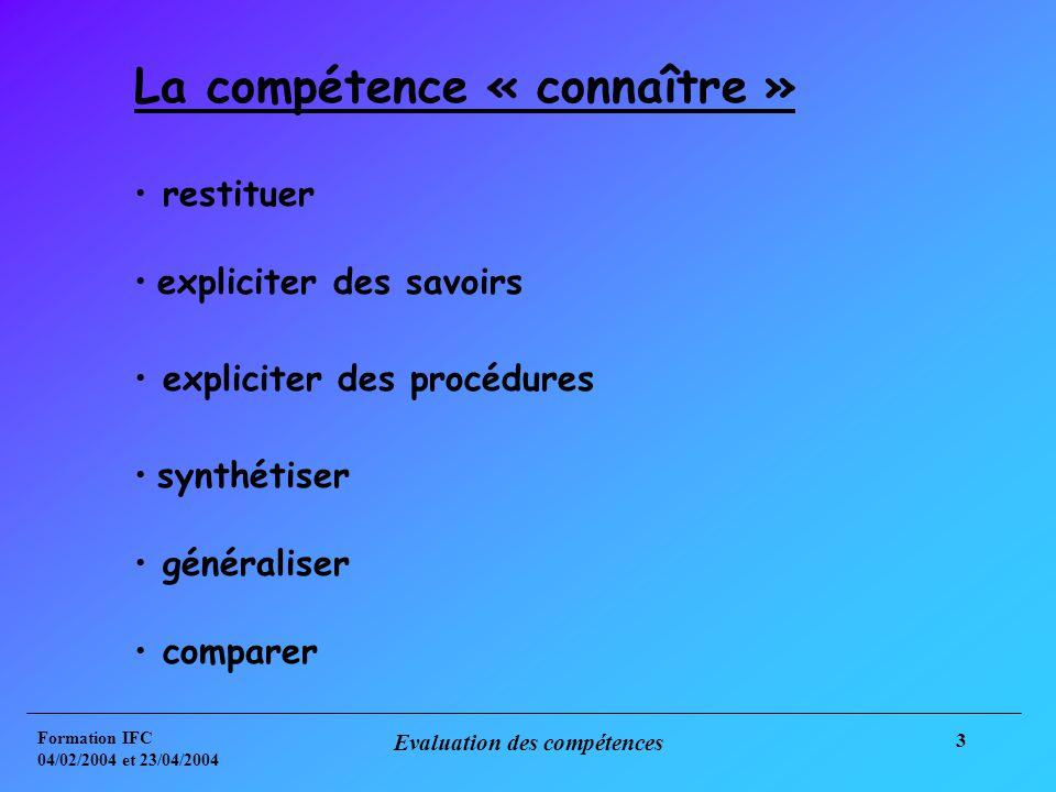 Formation IFC 04/02/2004 et 23/04/2004 Evaluation des compétences 3 La compétence « connaître » restituer expliciter des savoirs expliciter des procédures synthétiser généraliser comparer