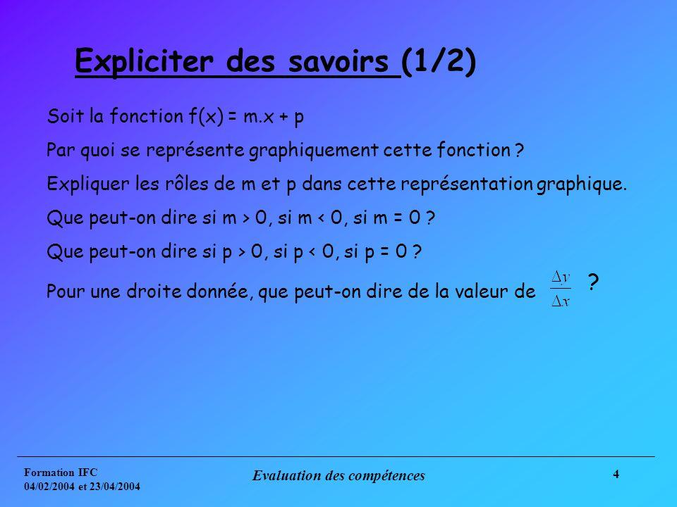 Formation IFC 04/02/2004 et 23/04/2004 Evaluation des compétences 4 Expliciter des savoirs (1/2) Soit la fonction f(x) = m.x + p Par quoi se représente graphiquement cette fonction .