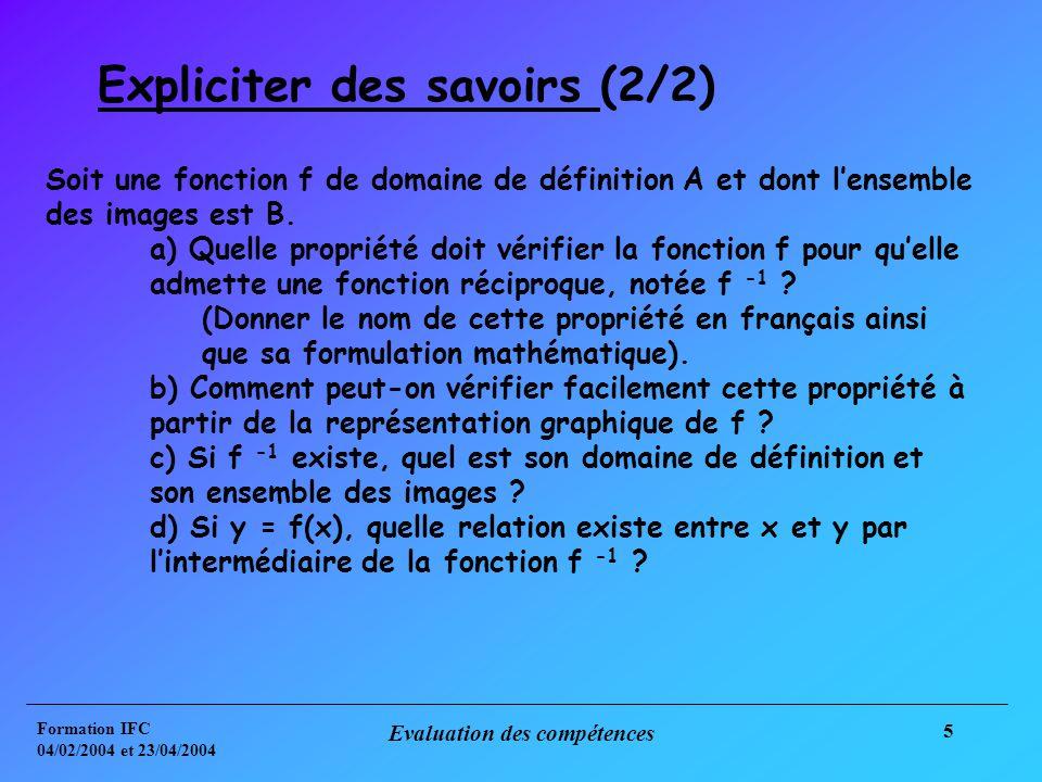 Formation IFC 04/02/2004 et 23/04/2004 Evaluation des compétences 5 Expliciter des savoirs (2/2) Soit une fonction f de domaine de définition A et dont lensemble des images est B.