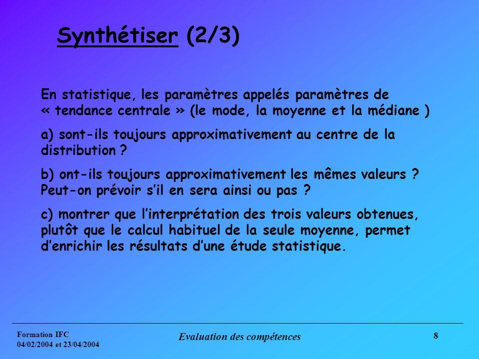 Formation IFC 04/02/2004 et 23/04/2004 Evaluation des compétences 8 Synthétiser (2/3) En statistique, les paramètres appelés paramètres de « tendance centrale » (le mode, la moyenne et la médiane ) a) sont-ils toujours approximativement au centre de la distribution .