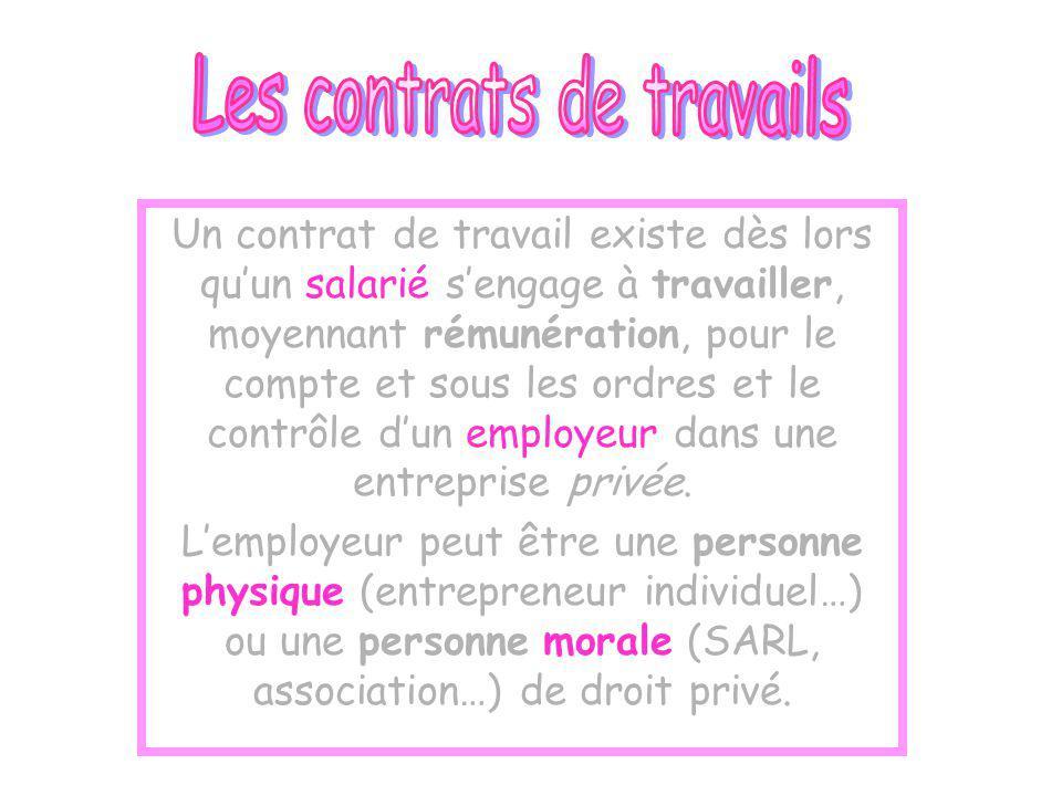 Un contrat de travail existe dès lors quun salarié sengage à travailler, moyennant rémunération, pour le compte et sous les ordres et le contrôle dun employeur dans une entreprise privée.