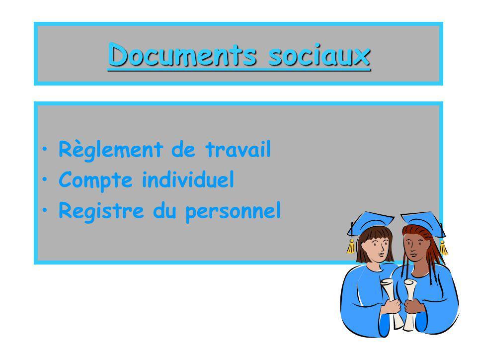 Documents sociaux Règlement de travail Compte individuel Registre du personnel