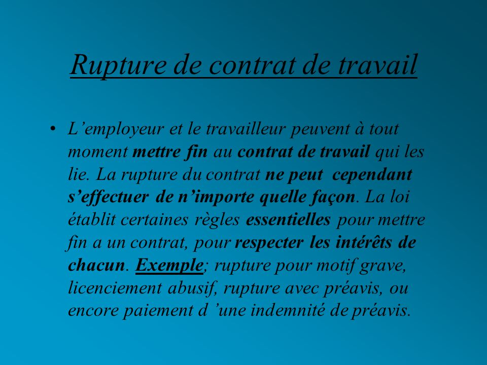 Les différents types de contrat de travail En droit, il existe différents types de contrat de travail: le contrat a durée indéterminée (CDI), le contr