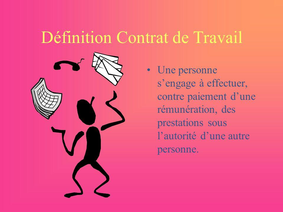 Définition Contrat de Travail Une personne sengage à effectuer, contre paiement dune rémunération, des prestations sous lautorité dune autre personne.