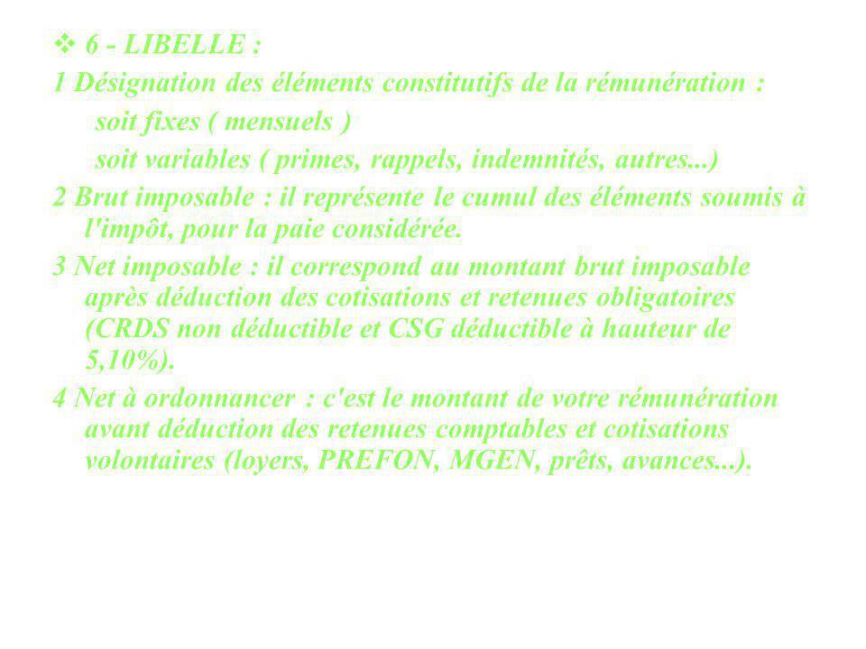 6 - LIBELLE : 1 Désignation des éléments constitutifs de la rémunération : soit fixes ( mensuels ) soit variables ( primes, rappels, indemnités, autre