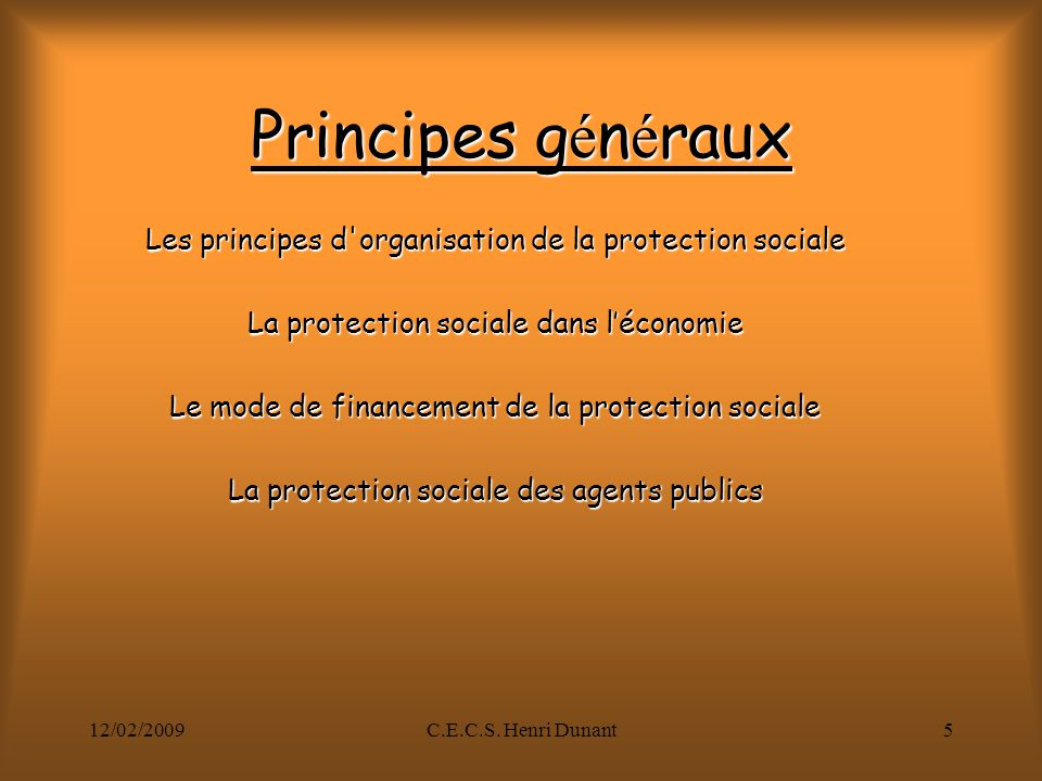 12/02/2009C.E.C.S. Henri Dunant5 Principes g é n é raux Les principes d'organisation de la protection sociale La protection sociale dans léconomie Le