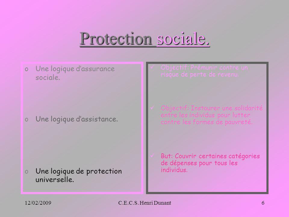 12/02/2009C.E.C.S. Henri Dunant6 Protection sociale. oUne logique dassurance sociale. oUne logique dassistance. oUne logique de protection universelle