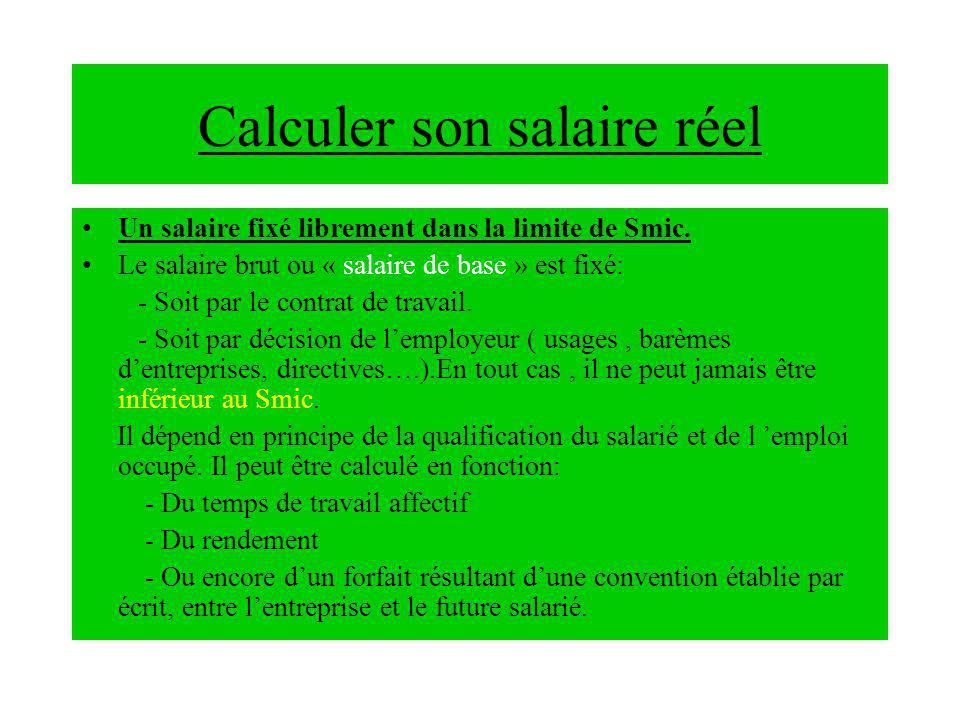 Calculer son salaire réel Un salaire fixé librement dans la limite de Smic.