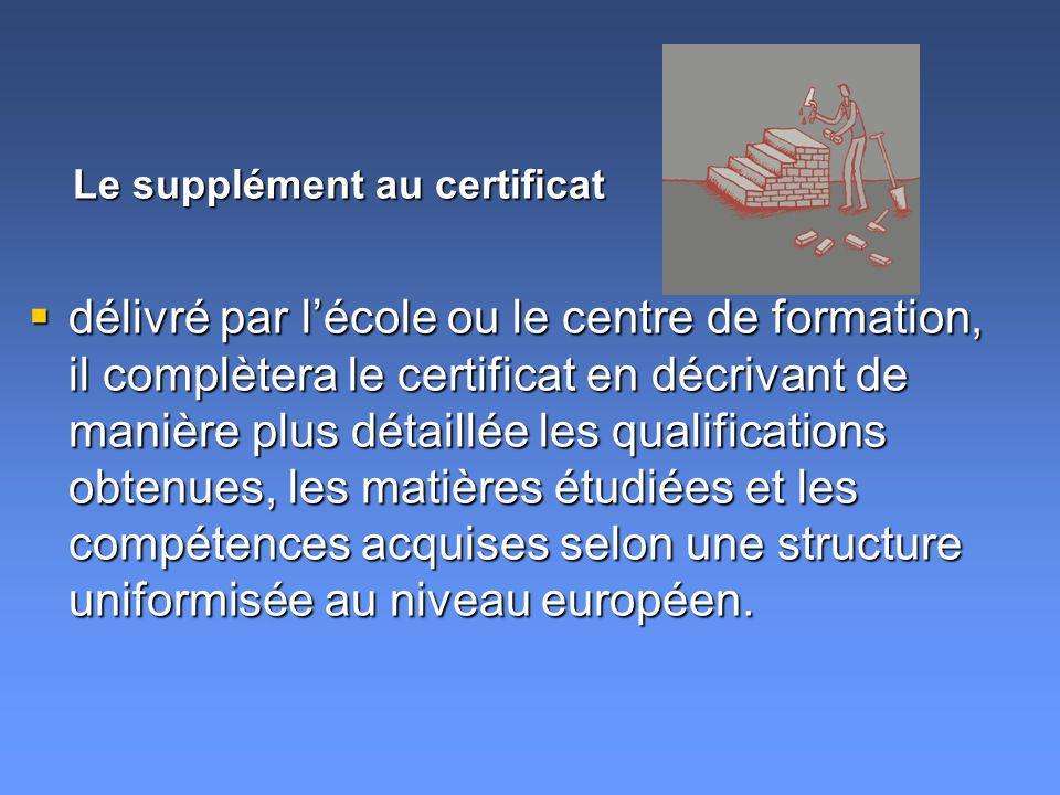 délivré par lécole ou le centre de formation, il complètera le certificat en décrivant de manière plus détaillée les qualifications obtenues, les matières étudiées et les compétences acquises selon une structure uniformisée au niveau européen.
