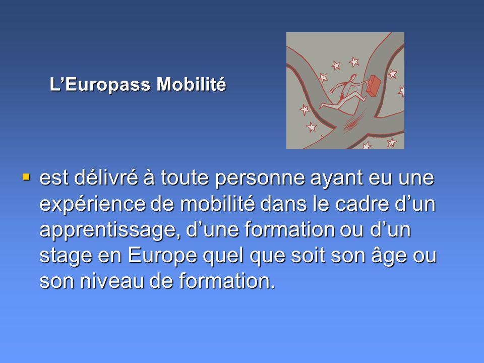 est délivré à toute personne ayant eu une expérience de mobilité dans le cadre dun apprentissage, dune formation ou dun stage en Europe quel que soit son âge ou son niveau de formation.