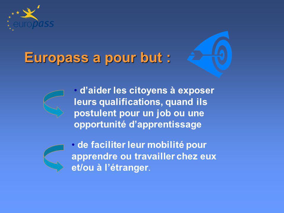 Europass a pour but : daider les citoyens à exposer leurs qualifications, quand ils postulent pour un job ou une opportunité dapprentissage de faciliter leur mobilité pour apprendre ou travailler chez eux et/ou à létranger.