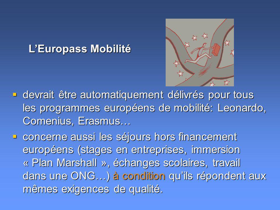 devrait être automatiquement délivrés pour tous les programmes européens de mobilité: Leonardo, Comenius, Erasmus… devrait être automatiquement délivr