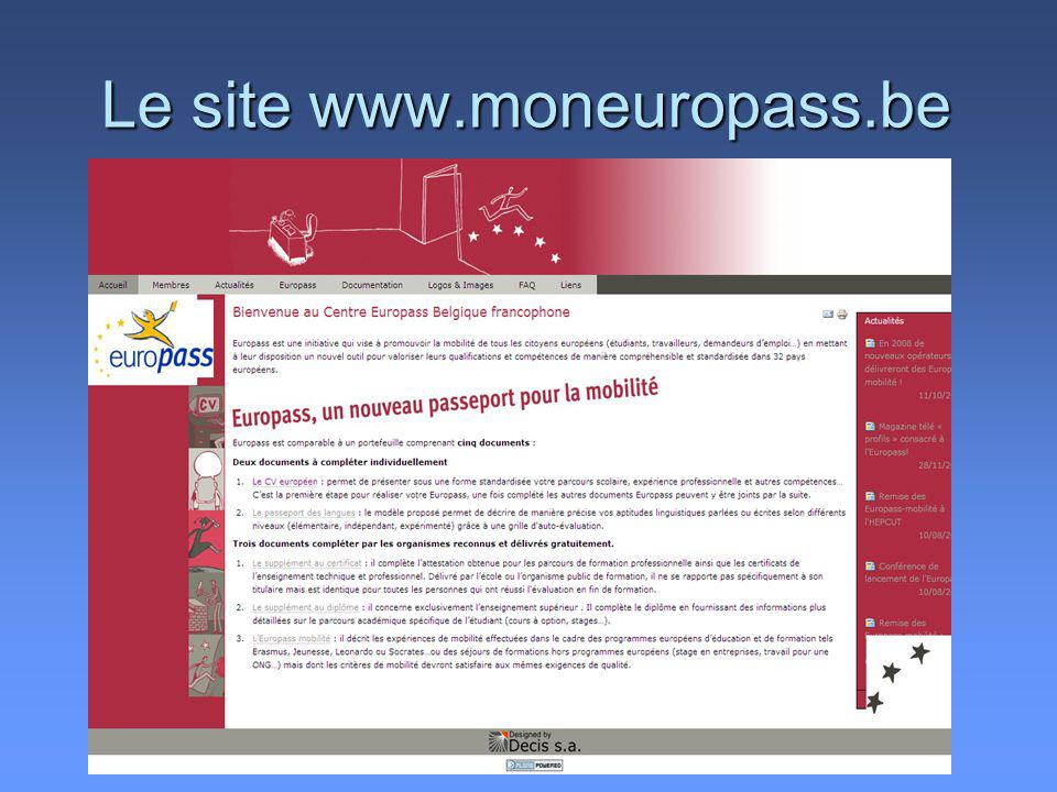 Le site www.moneuropass.be