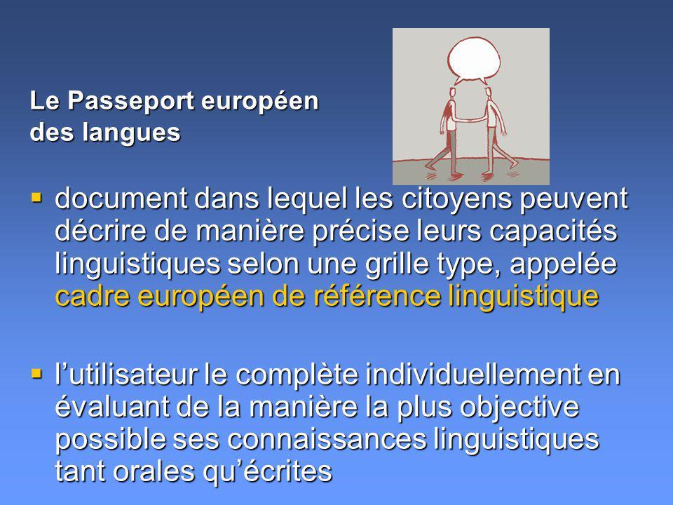 document dans lequel les citoyens peuvent décrire de manière précise leurs capacités linguistiques selon une grille type, appelée cadre européen de ré