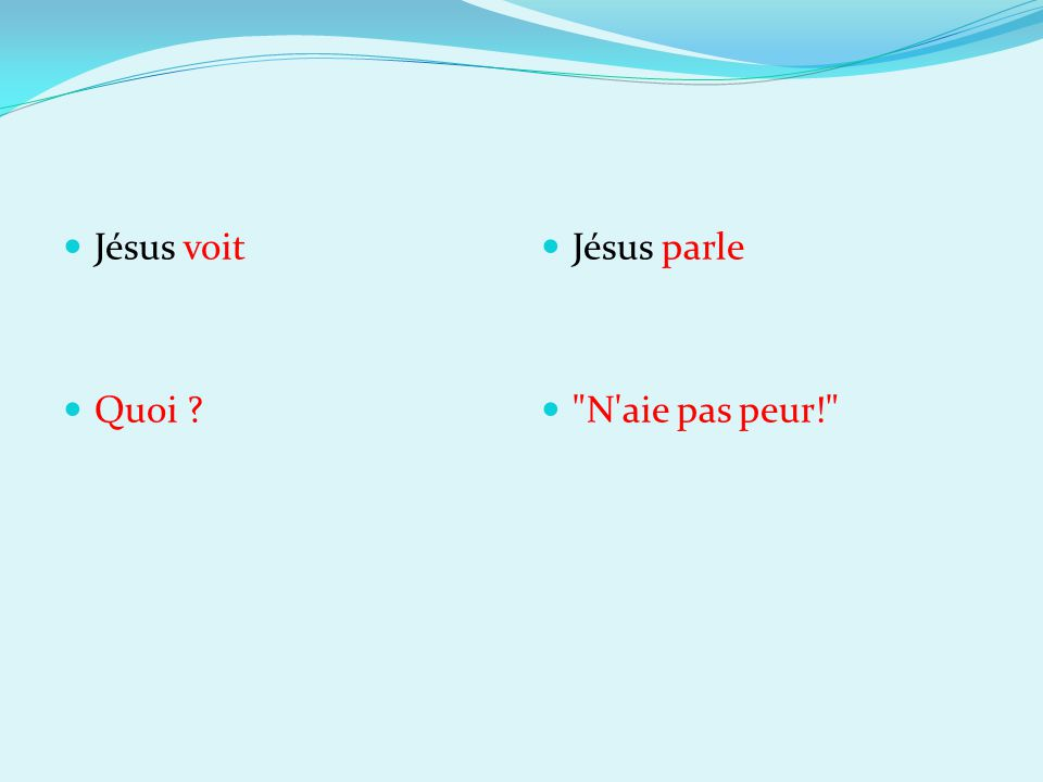 Jésus voit Quoi ? Jésus parle N aie pas peur!