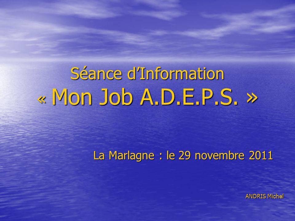 Séance dInformation « Mon Job A.D.E.P.S. » La Marlagne : le 29 novembre 2011 ANDRIS Michel