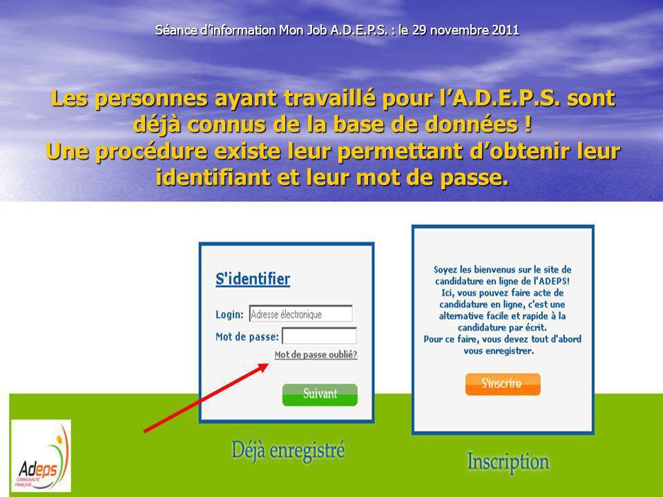 Séance dinformation Mon Job A.D.E.P.S.