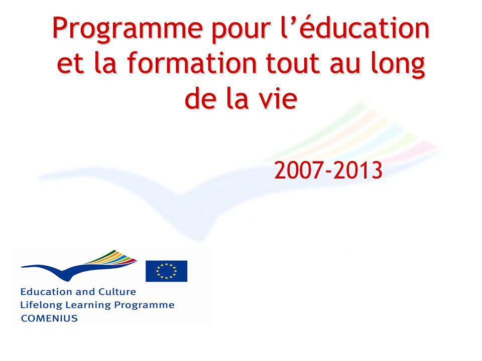 Programme pour léducation et la formation tout au long de la vie 2007-2013