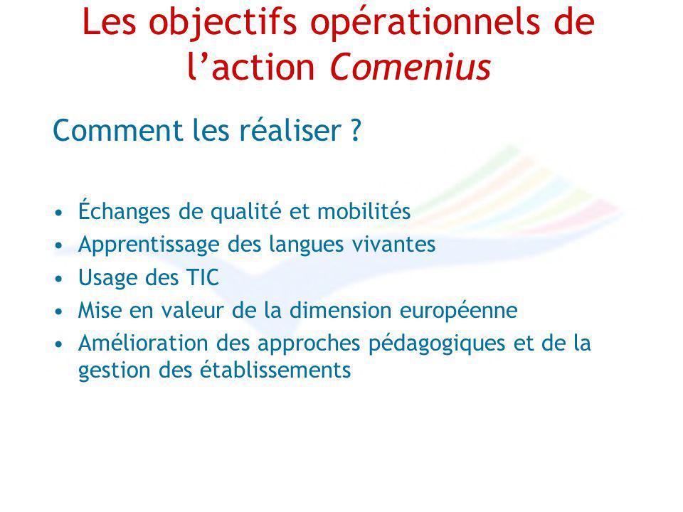 Les objectifs opérationnels de laction Comenius Comment les réaliser ? Échanges de qualité et mobilités Apprentissage des langues vivantes Usage des T