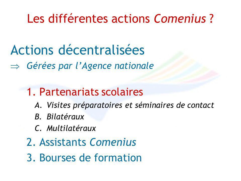 Les différentes actions Comenius . Actions décentralisées Gérées par lAgence nationale 1.
