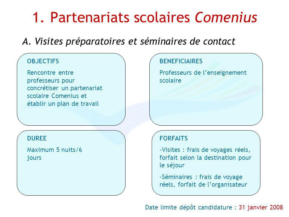 1. Partenariats scolaires Comenius Date limite dépôt candidature : 31 janvier 2008 OBJECTIFS Rencontre entre professeurs pour concrétiser un partenari