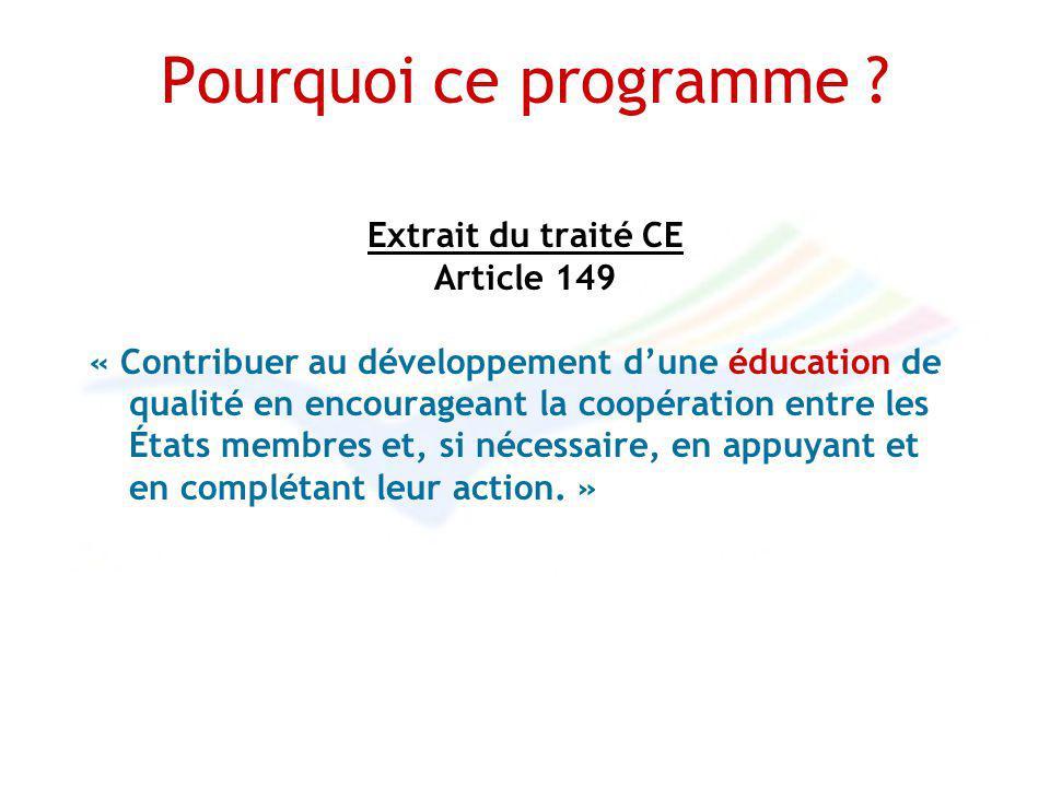 Pourquoi ce programme ? Extrait du traité CE Article 149 « Contribuer au développement dune éducation de qualité en encourageant la coopération entre