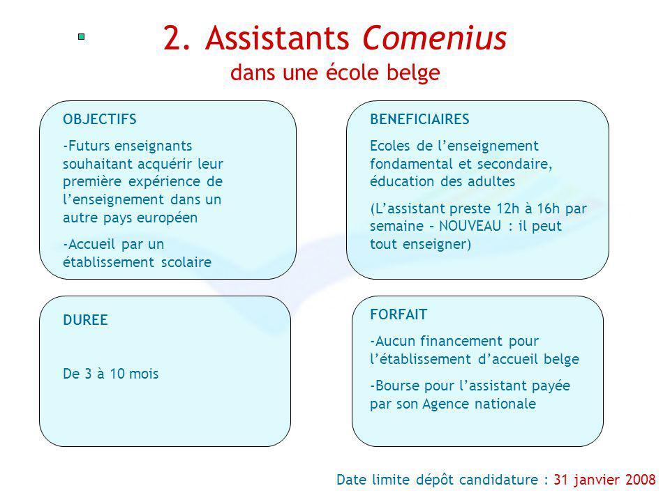 2. Assistants Comenius dans une école belge OBJECTIFS -Futurs enseignants souhaitant acquérir leur première expérience de lenseignement dans un autre