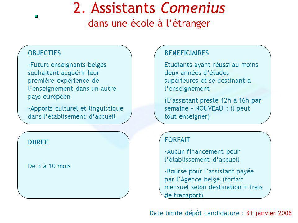 2. Assistants Comenius dans une école à létranger OBJECTIFS -Futurs enseignants belges souhaitant acquérir leur première expérience de lenseignement d