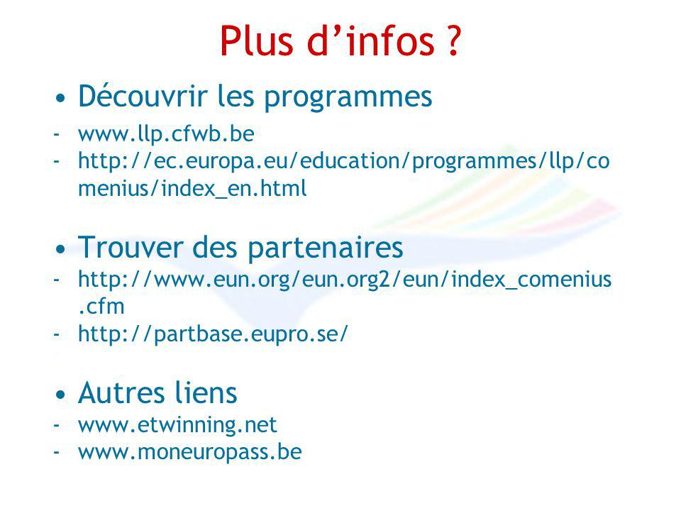 Plus dinfos ? Découvrir les programmes -www.llp.cfwb.be -http://ec.europa.eu/education/programmes/llp/co menius/index_en.html Trouver des partenaires