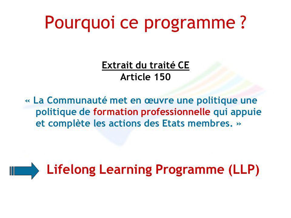 Pourquoi ce programme ? Extrait du traité CE Article 150 « La Communauté met en œuvre une politique une politique de formation professionnelle qui app