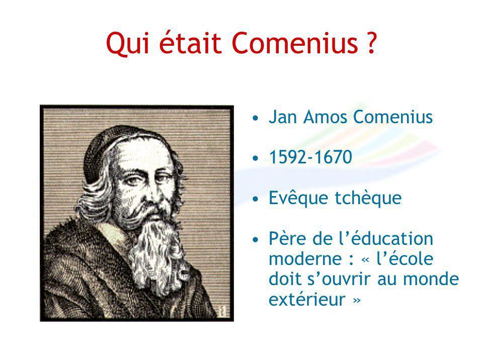 Qui était Comenius ? Jan Amos Comenius 1592-1670 Evêque tchèque Père de léducation moderne : « lécole doit souvrir au monde extérieur »