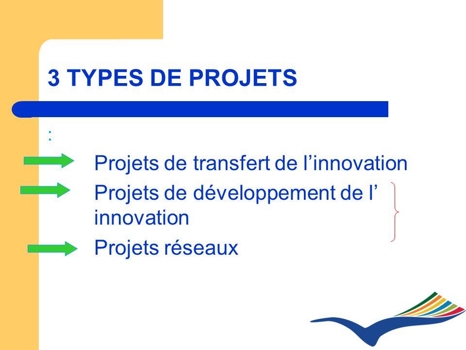 3 TYPES DE PROJETS : Projets de transfert de linnovation Projets de développement de l innovation Projets réseaux