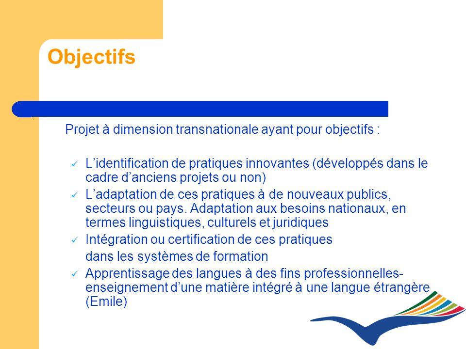Objectifs Projet à dimension transnationale ayant pour objectifs : Lidentification de pratiques innovantes (développés dans le cadre danciens projets ou non) Ladaptation de ces pratiques à de nouveaux publics, secteurs ou pays.