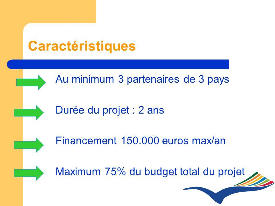 Caractéristiques Au minimum 3 partenaires de 3 pays Durée du projet : 2 ans Financement 150.000 euros max/an Maximum 75% du budget total du projet