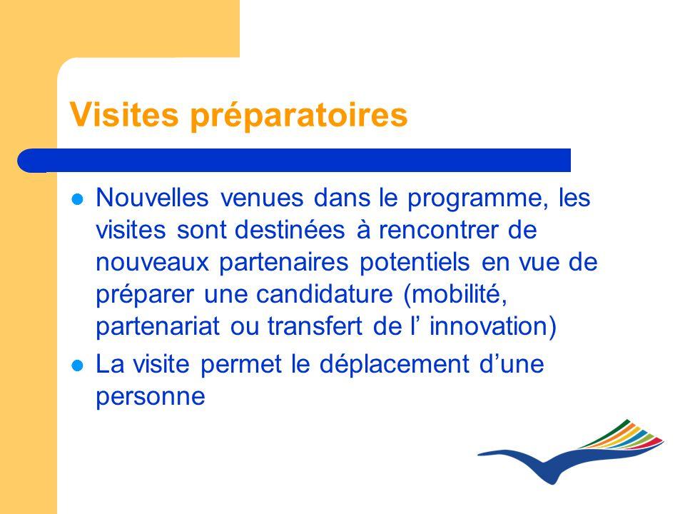Visites préparatoires Nouvelles venues dans le programme, les visites sont destinées à rencontrer de nouveaux partenaires potentiels en vue de préparer une candidature (mobilité, partenariat ou transfert de l innovation) La visite permet le déplacement dune personne