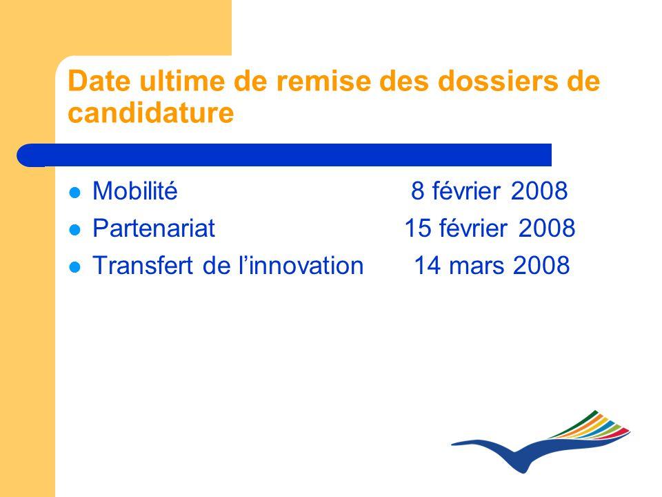 Date ultime de remise des dossiers de candidature Mobilité 8 février 2008 Partenariat 15 février 2008 Transfert de linnovation 14 mars 2008