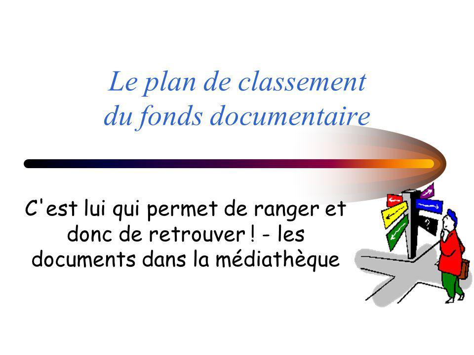 Le plan de classement du fonds documentaire C'est lui qui permet de ranger et donc de retrouver ! - les documents dans la médiathèque