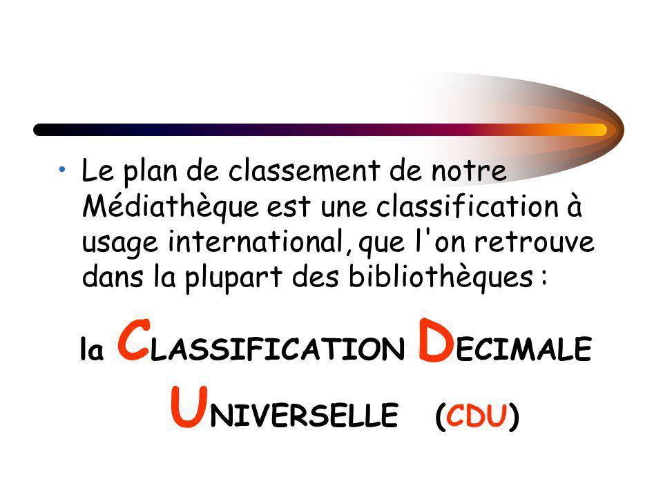 Le plan de classement de notre Médiathèque est une classification à usage international, que l on retrouve dans la plupart des bibliothèques : la C LASSIFICATION D ECIMALE U NIVERSELLE (CDU)