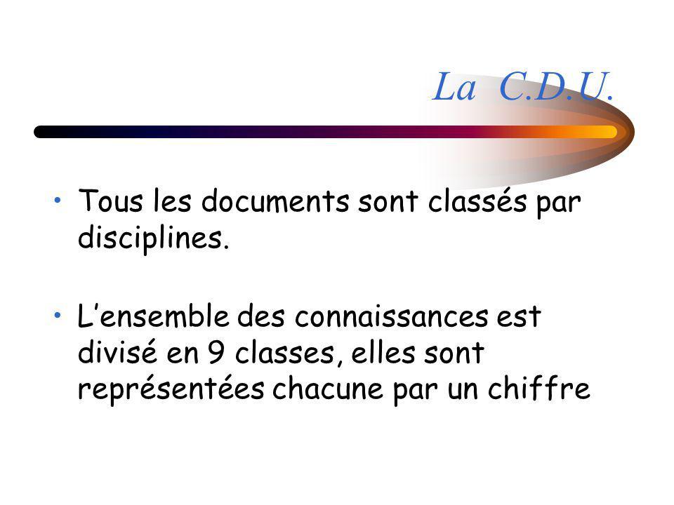 La C.D.U. Tous les documents sont classés par disciplines. Lensemble des connaissances est divisé en 9 classes, elles sont représentées chacune par un