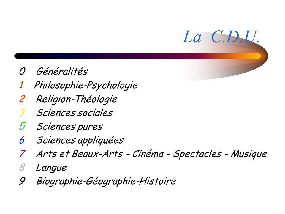 0 Généralités 1 Philosophie-Psychologie 2 Religion-Théologie 3 Sciences sociales 5 Sciences pures 6 Sciences appliquées 7 Arts et Beaux-Arts - Cinéma