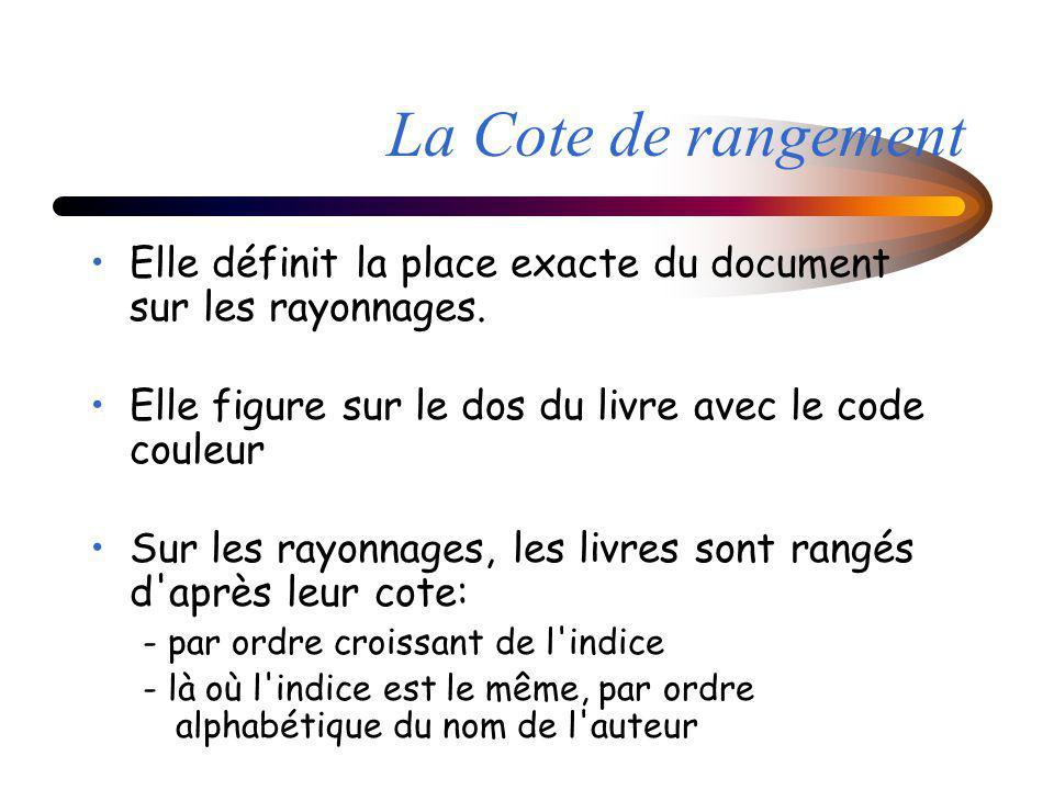 La Cote de rangement Elle définit la place exacte du document sur les rayonnages. Elle figure sur le dos du livre avec le code couleur Sur les rayonna