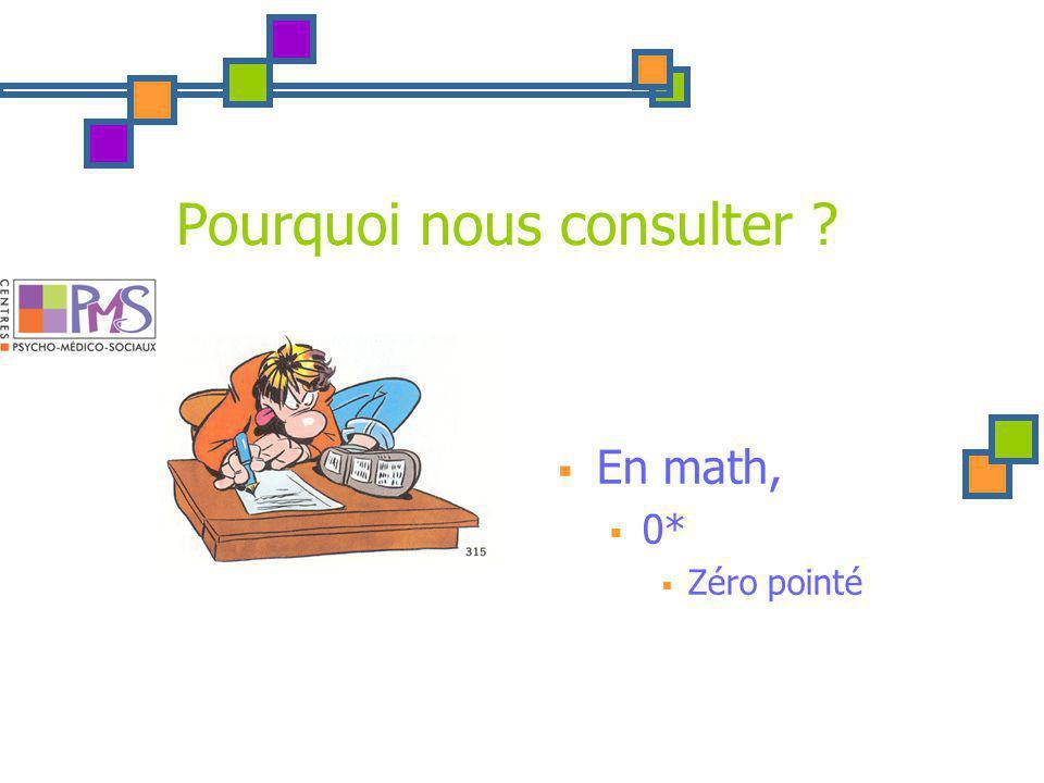 Pourquoi nous consulter En math, 0* Zéro pointé DD